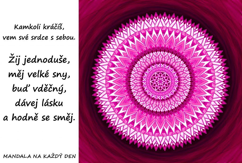 Mandala Žij jednoduše a buď šťastný