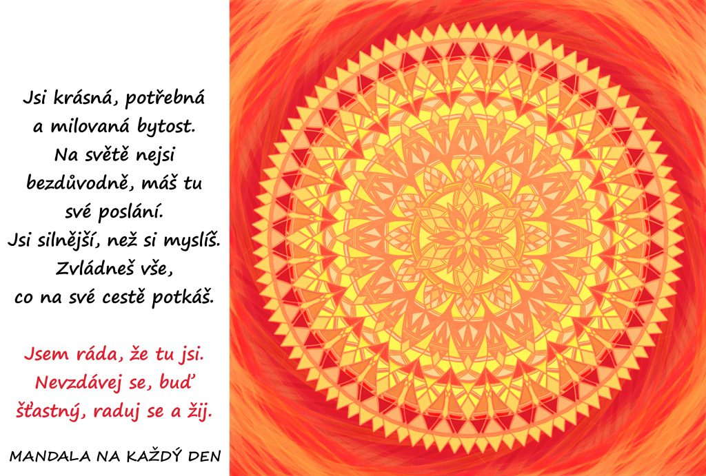 Mandala Jsi krásná, potřebná a milovaná bytost