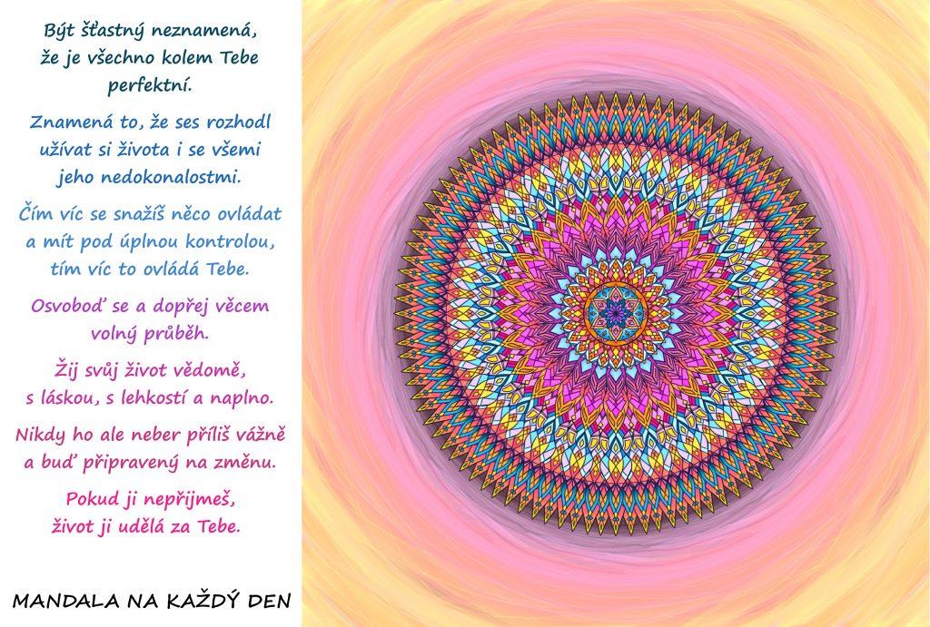 Mandala Žij šťastně, vědomě, s láskou a naplno