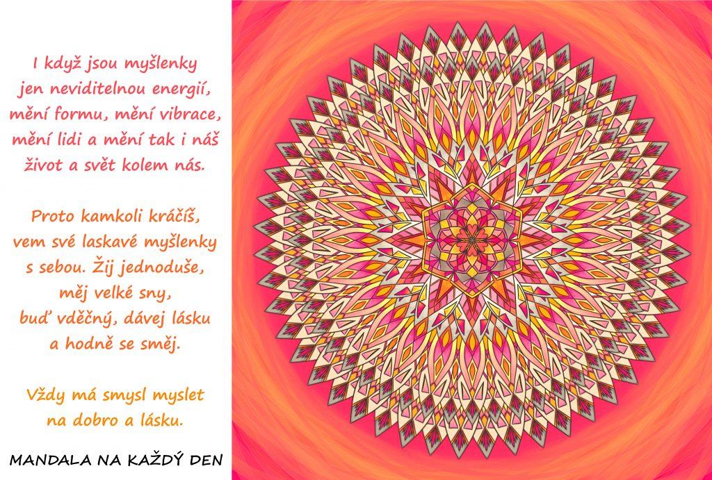 Mandala Mysli na dobro a lásku, změň tím svůj svět