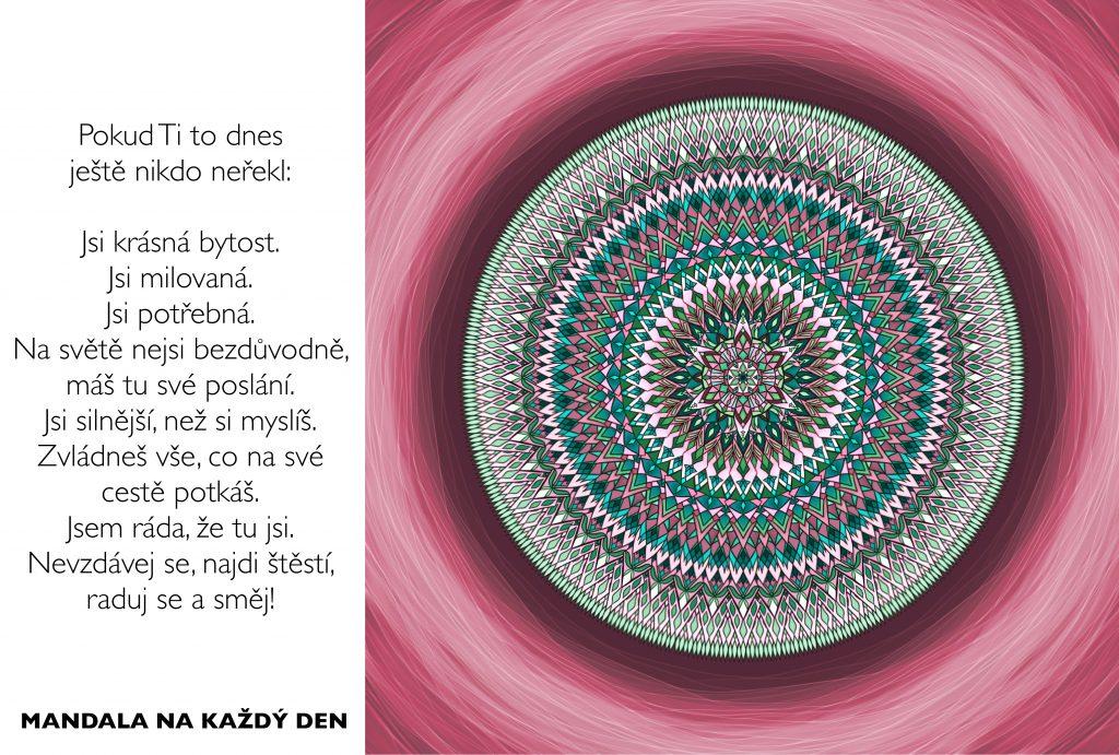 Mandala Nezapomínej, že jsi krásná, potřebná a milovaná bytost