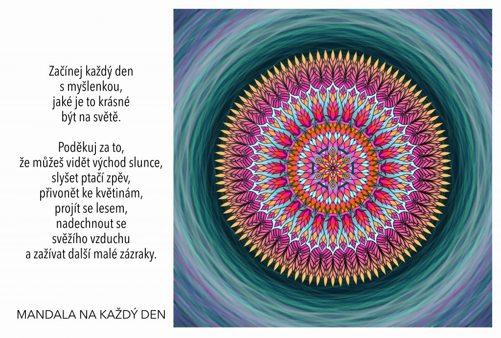 Mandala Začínej každý den poděkováním a krásnými myšlenkami